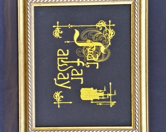 """Wall Art, picture, Princess, Story, """"Far Far Away"""", Embroidered  READY TO SHIP(black)"""