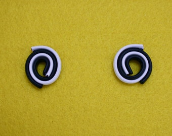 LANDLINES Upcycled Black White Small Spiral Statement Earrings