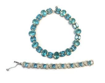 Vintage Jewelry Set, Signed 1950s Joseph Wiesner NY Aqua and Rhinestone Necklace and Bracelet, Demi Parure, Costume Jewelry, Wedding Bridal