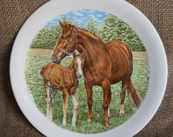 Vintage 1980's Poole Pottery Horse and Foal Plate Made in England