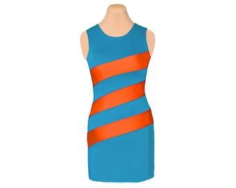 Orange + Aqua Diagonal Stripe Dress