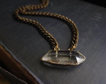 Quartz Necklace,Quartz Point Necklace,Raw Stone Necklace,Raw Stone Jewelry,Chunky Chain,Jewelry Gift for Girlfriend,Crystal Necklace Gold