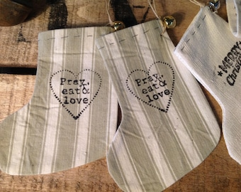 Small sock ornament ticking and antique white fabric