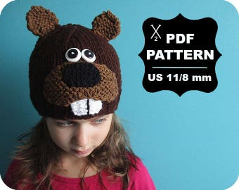 English-French Two Needle KNITTING PATTERN / Digital Download / #65 / Knitted Beaver Hat / 6-16M to 5 years-Adult / US11 / 8mm