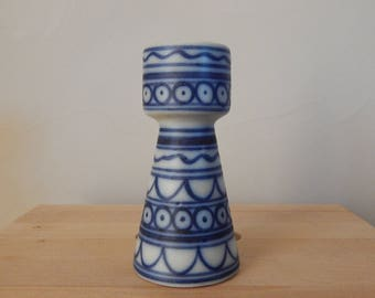 Vintage Blue and White Sea Ceramic Ceramic Vase Decor Hand Painted