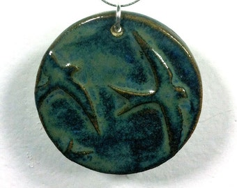 Blue Swallows Bird Pendant with Necklace in Midnight Sea, Ceramic Clay with Glaze