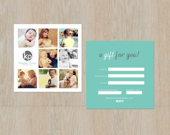 Minimal double sided gift certificate design - Instant download