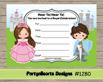 DIY - FILL IN Yourself Princess and Prince Childrens Party Invitation Cards