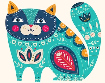 Decorative blue CAT with floral pattern. Fine art PRINTS. Beautiful print for living room, bedroom or kids room.