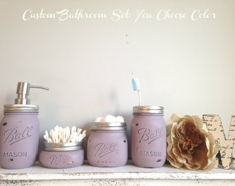 CUSTOM 4 Pc. Mason Jar Bathroom Set- You Choose Color: Choose from 28 Colors