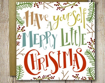 Merry Christmas cards set boxed - holiday cards - christmas greetings - holiday gift - Have yourself a merry little christmas