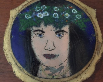 SALE Italian Painted Portrait Hand Mirror Vintage Made in Italy Wooden Framed Mirror w Enamel on Copper Hand Painting