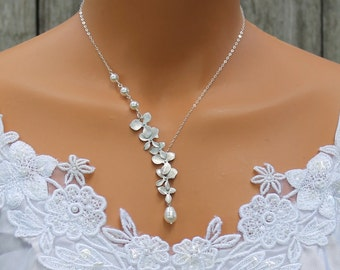 Silver Orchid Necklace, Cascade Orchid Necklace, Wedding Gift, Bridesmaid, Bridal Jewelry, Orchid Flower, Anniversary