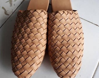Womens Leather Loafers Leather Mules Woven Leather Shoes Ladies