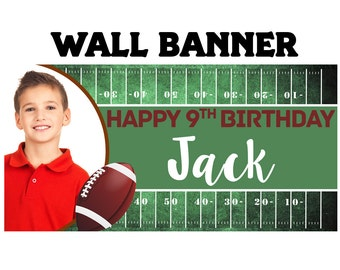 Football Birthday Party Banner ~ Personalized Party Banners Indoor or Outdoor Photo Sports Banner, Photo Banner, Printed Vinyl Banner