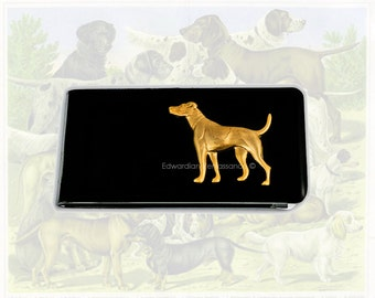 Money Clip English Pointer Dog Neo Victorian Inspired Inlaid in Glossy Black Enamel Custom Colors and Personalized Option