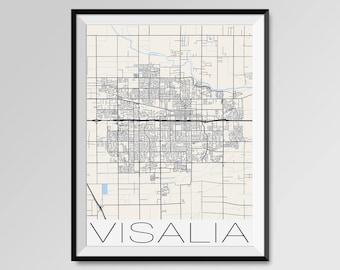 VISALIA California Map, Visalia City Map Print, Visalia Map Poster, Visalia Wall Map Art, Visalia gift, Custom city maps, California map