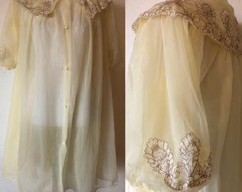 L 1960's Nightgown Sheer Nylon Embroidered Collar Light Yellow Excellent