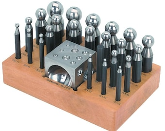 Deluxe Steel Dapping Block Doming Punch Set with 24 Punches, Metal Hardened Steel Metal Working Tools