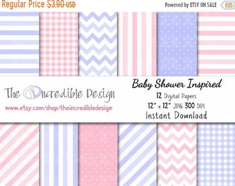 ON SALE Baby Shower Inspired digital paper pack for scrapbooking, Making Cards, Tags and Invitations, Instant Download