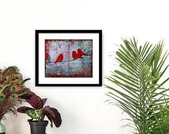 Three Little Birds, Art Print, Ruby Red Birds on a Wire, Fine Art Print, Wall Decor, Fresh Trends, Optional Mat