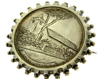 Antique Sterling Silver Brooch - 1893 - silver pin jewellery - Brighton Church Engraved