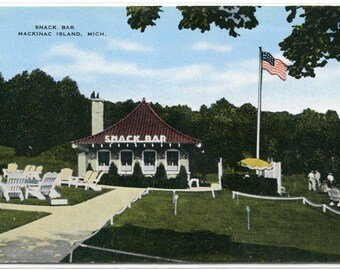 Snack Bar Mackinac Island Michigan postcard