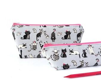 Cat pencil case, Cute pencil case, Cat pencil pouch, Cat lover gift, Zipper pencil case, Student pencil case Makeup brush bag Cute cat stuff