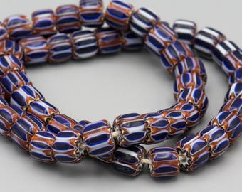 "26 Chevron Glass Beads 10-8mm 8"" Strand SKU-VG-8"