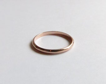 14K Solid Rose Gold White Gold or Yellow Gold Narrow Contemporary Minimalist  Wedding Band or Stacking Band. Custom 14K Gold Wedding Band.