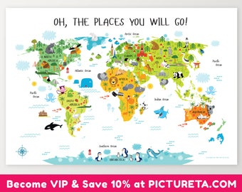 World Map, Toddler Gift, Birthday Gift for Toddler, First Birthday Gift, 1st Birthday Gift, Unique Baby Gift, Oh, The Places You Will Go