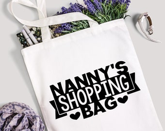 Nanny Shopping Bag Nanny Bag Nanny Shopping Tote Nanny Gift Grandma Bag Nanny Gift Cotton Tote Cotton Bag Granny Nan Bag Grandchildren Gift