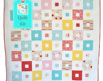 All Squared Up Quilt Kit in Riley Blake's Happy Day Prints - Easy Quilt Kit, Baby Quilt, Handmade Quilt Kit, Jelly Roll Quilt
