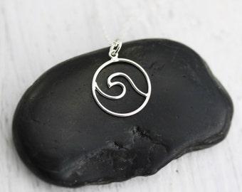 Wave Necklace - Sterling Silver Ocean Waves Necklace - Beachy Necklace - Beach Lover Jewelry - Waves Pendant  Surfer Necklace  Surfing Waves