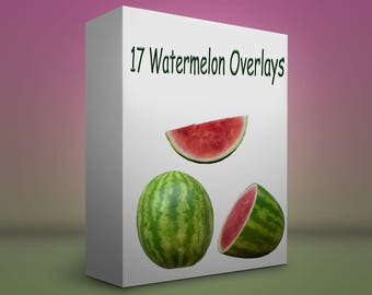 17 Watermelon PNG overlay files