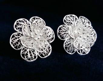 Flower Earrings - Silver Filigree Earrings Flor de Alegria - Sterling Silver Earrings - Flower Stud Earrings, Bridal Earrings, Gift Idea