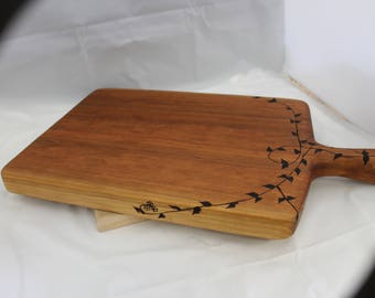Solid Cherry Cutting Board with handle and woodburned vines