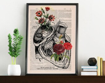 Flowery Heart human Anatomy Print on dictionary page gift , love wall art, human anatomy, science & anatomy art SKA080