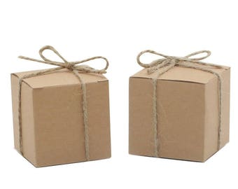 12 NATURAL KRAFT Boxes, 2 x 2 x 2   Kraft Gift Box, Favor Box, Gift Box, Gift wrap, Rustic Wedding
