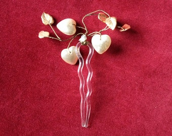 Vintage mother of pearl heart and wire work leaves hair pin