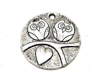 Owls on branch silver round charm