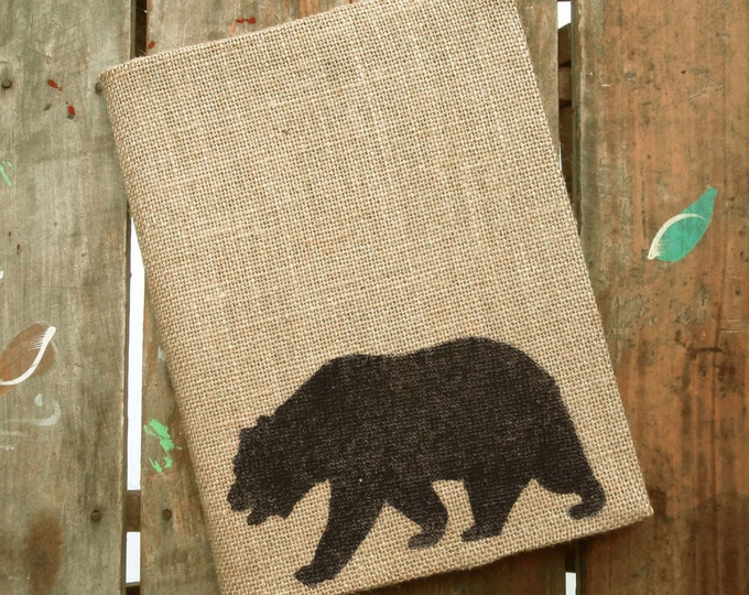 The Black Bear -  Burlap Journal  Refillable -  Notebook included - Composition Notebook Cover - Bear Journal - Sketchbook