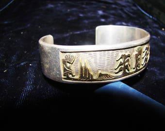 1-R Native American Stamped Sterling Frances Begay Bracelet