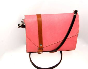 Pink Leather Cross Body Bag, Rose Leather Bag, Unique Leather Bag, Leather Crossbody, Pink Leather Purse, Leather Bag, Leather Shoulder Bag