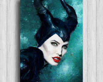maleficent poster disney painting angelina jolie art
