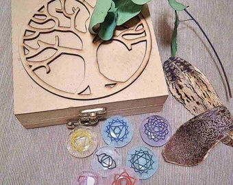 Flower of Life Chakra Disc Set for Reiki Healing, Chakra Balancing, Meditation Accessory, Chakra Alignment, Chakra Healing Crystal Quartz,