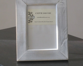 Wood Picture Frame, Rustic Picture Frame, Wooden Frame, Distressed Photo, Rustic Wall Decor, Cabin Decor,  8x10 Silver Wood