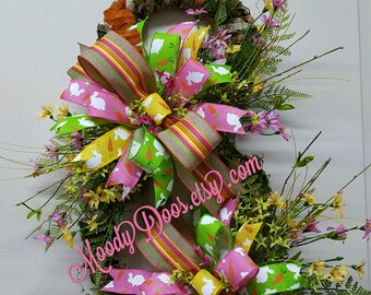 Easter Wreath, Easter Bunny, Easter Rabbit, Grapevine/Bark Bunny Wreath, Spring Wreath, Spring, Easter Decoration