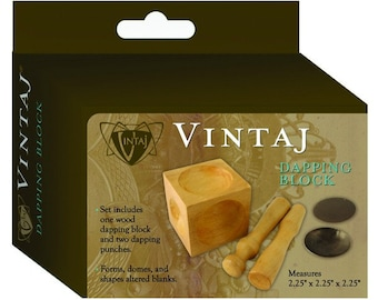 Wood Dapping Block, Doming Punch Kit, with 2 Punches, Vintaj Set, Tool Forms Domes on Jewelry Blanks