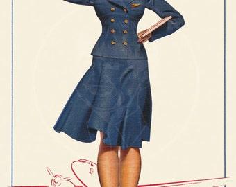 TWA Stewardess by Petty - 10x16 Giclée Canvas Print of a Vintage Postcard